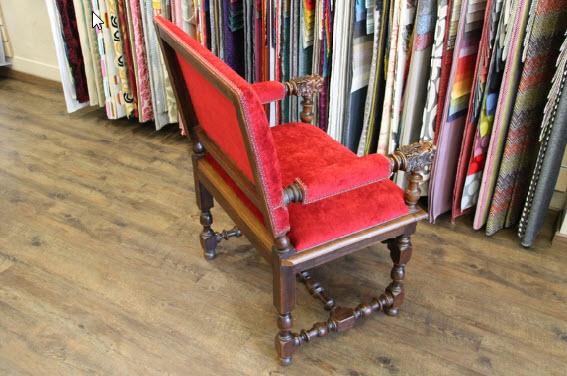 Dos du fauteuil Henri IV avec tissu Massimo