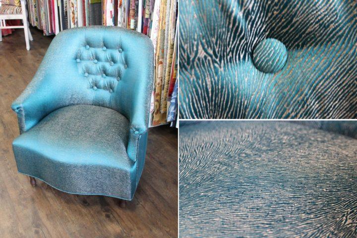 renovation fauteuil crapaud avec tissu sonora