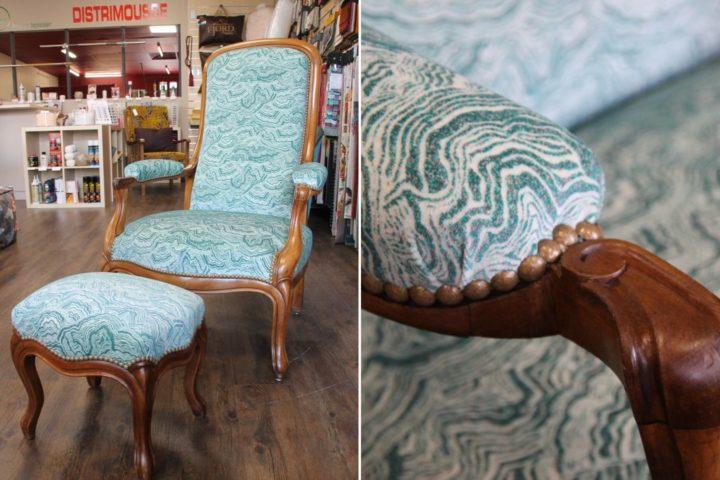 restauration fauteuil voltaire tissu malachite